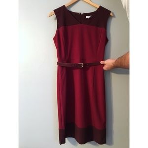 Two-toned maroon/burgundy pencil dress
